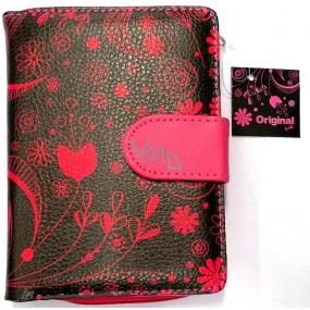 Albi Original Designová peněženka z koženky Růžové květy 10 x 13 cm