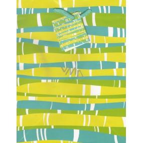 Nekupto Dárková papírová taška střední 23 x 18 x 10 cm zeleno-modro-žlutá 1 kus 1153 50 KFM