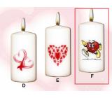 Lima Valentýnská svíčka Běžící srdce svíčka s obtiskem bílá válec 50 x 100 mm 1 kus