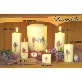Lima Květina Levandule vonná svíčka slonová kost s obtiskem levandule válec 110 x 150 mm 1 kus