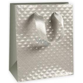 Ditipo Dárková papírová taška malá šedá 11,4 x 6,4 x 14,6 cm DE