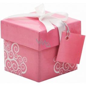Anděl Dárková krabička skládací s mašlí Růžová 7 x 7 x 7 cm