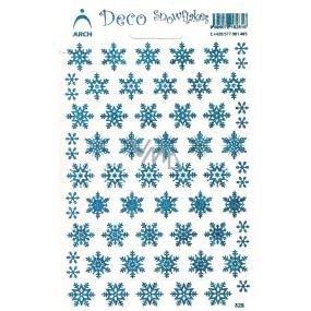 Arch Holografické dekorační samolepky vánoční vločky modré 1 arch