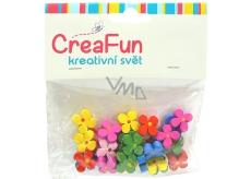 CreaFun Dřevěné dekorace Květ mix barev 14 mm 30 kusů