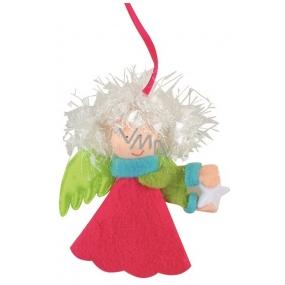 Anděl pestré barvy- zelená křídla na zavěšení 10 cm