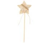 Hvězda z filcu béžová zápich 6 cm + špejle