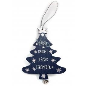 Nekupto Vánoční dřevěná dekorace stromeček Láska, radost, Ježíšek, stromeček 11,8 x 9,5 cm