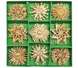 Slaměné ozdoby v karbičce cca 6 cm, 26 kusů