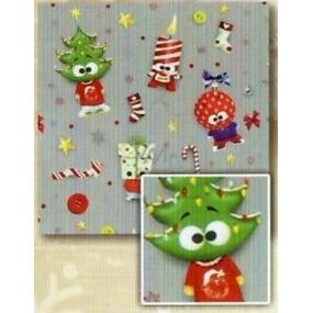 Nekupto Dárkový balicí papír 70 x 200 cm Vánoční Stříbrný, zelený strom