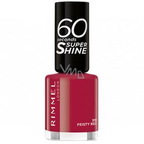 Rimmel London 60 Seconds Super Shine Nail Polish lak na nehty313 Feisty Red 8 ml