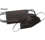 Rouška 3 vrstvá ochranná zdravotní netkaná jednorázová, nízký dýchací odpor 10 kusů černá