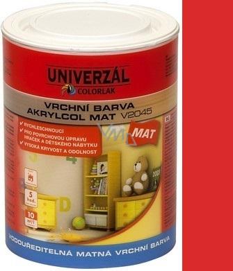 Colorlak Akrylcol Mat V2045 vodouředitelná matná vrchní barva Červená 0,6 l