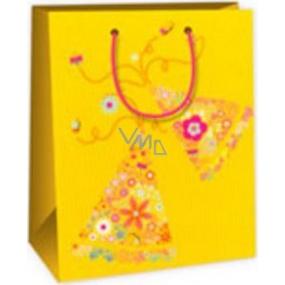Ditipo Dárková papírová taška střední žlutá - kytičky 18 x 10 x 22,7 cm C