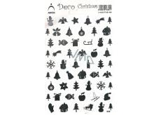 Arch Holografické dekorační samolepky vánoční různé motivy stříbrné 830