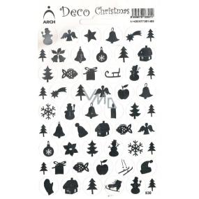 Arch Holografické vánoční samolepky obrázky různé motivy stříbrné 830