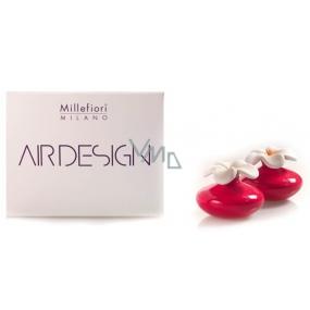 Millefiori Milano Air Design Difuzér květina nádobka pro vzlínání vůně pomocí porézní vrchní části mini červená 2 kusy, 80 ml, 7 x 6 cm