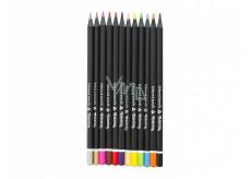 Colorino Pastelky trojhranné, černé dřevo, s ořezávátkem 12 barev