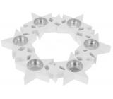 Svícen Hvězdy v kruhu, dřevěný, bílý 310 mm na 6 kusů čajových svíček