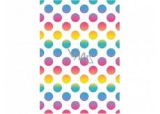 Ditipo Dárkový balicí papír 70 x 100 cm Bílý barevná kolečka 2 archy