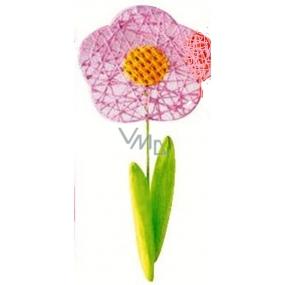 Květina velká světle růžová proplétaná 49 cm