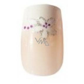Diva & Nice Natureasy Nails Decorated nalepovací nehty přírodní se stříbrnými kytičkami 24 kusů + lepidlo 2 g