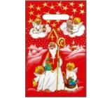 Taška igelitová červená Mikuláš, andílci 32 x 20 cm