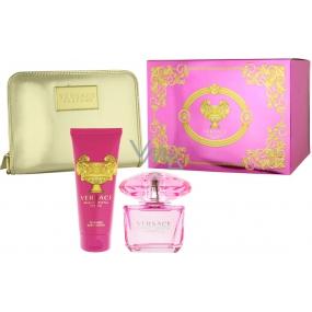 Versace Bright Crystal Absolu parfémovaná voda pro ženy 90 ml + tělové mléko 100 ml + zlatá kabelka 1 kus, dárková sada
