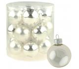Sada skleněných baněk stříbrných 4 cm, 18ks