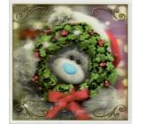 Me to You Blahopřání do obálky 3D Přání k Vánocům, Vánoční medvěd s věnečkem 15,5 x 15,5 cm