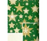 Nekupto Dárkový balicí papír 70 x 500 cm Vánoční zelený zlaté hvězdy
