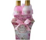 Salsa Collection Růžová pivoňka sprchový gel 150 ml + tělové mléko 150 ml + toaletní mýdlo 100 g + mycí žínka, kosmetická sada hranatý květináč