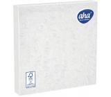 Aha Papírové ubrousky 3 vrstvé 33 x 33 cm 15 kusů Ražené bílé