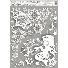 Okenní fólie bez lepidla rohová andílci s duhovými glitry holka vpravo 42 x 30 cm