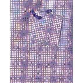Nekupto Dárková papírová taška malá 14 x 11 x 6,5 cm fialová se čtverečky, 087 33 GS