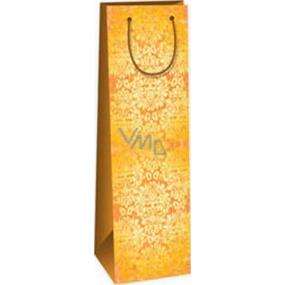 Ditipo Dárková papírová taška na láhev 12,3 x 7,8 x 36,2 cm hnědá žlutý vzor ST