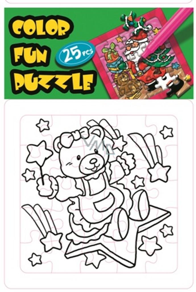 Skládací omalovánky vánoční motiv Medvídek a hvězdička 25 dílků 18 x 12 cm