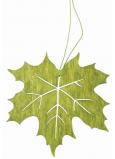 List dřevěný zelený na zavěšení 10 cm