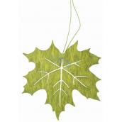 Dřevěný list na zavěšení zelený 10 cm