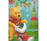 Ditipo Disney Dárková papírová taška pro děti L Medvídek Pú Merry Christmas 26 x 13,5 x 32 cm