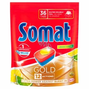 Somat Gold Lemon & Limea tablety do myčky 12 funkcemi odstraňují i ty nejodolnější zbytky a skvrny od čaje i kávy a poskytnou perfektní výsledky mytí již při 40° 36 tablet