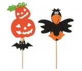 Halloweenská filcová dekorace 9 cm + špejle 1 kus