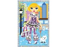 Vyškrabávací obrázek panenky s pejskem 21,5 x 11 cm
