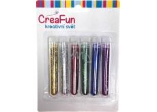 CreaFun Dekorační třpytky sada barevné dlouhé tuby 6 x 3 g