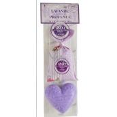 Le Chatelard Levandule vonný pytlíček 18 g + Marsille toaletní mýdlo ve tvaru srdce 100 g kosmetická sada