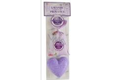 Le Chatelard Levandule látkový pytlíček plněný vonnou směsí 18 g + Marsille toaletní mýdlo ve tvaru srdce 100 g kosmetická sada