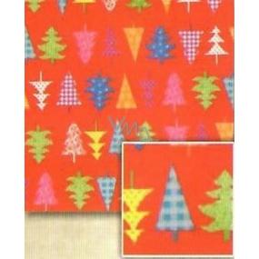 Nekupto Dárkový balicí papír 70 x 500 cm Vánoční Červený, barevné stromečky