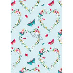 Ditipo Balicí papír světle zelený, srdíčka z květů motýlci 100 x 70 cm 2 kusy