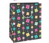 Ditipo Dárková papírová taška velká černá barevné kvítečka 26 x 32,5 x 13,8 cm