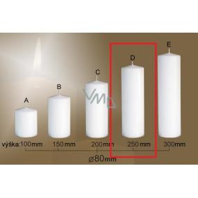 Lima Gastro hladká svíčka bílá válec 80 x 250 mm 1 kus