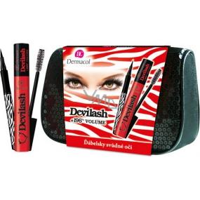 Dermacol Devilash řasenka černá 12 ml + Dermacol Black Sensation Precise fix na oči Black 1,0 ml + taštička, kosmetická sada